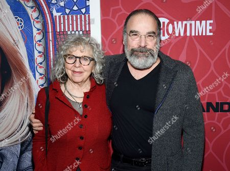 """Stock Image of Kathryn Grody, Mandy Patinkin. Actor Mandy Patinkin, right, and wife Kathryn Grody attend Showtime's """"Homeland"""" eighth and final season premiere at the Museum of Modern Art, in New York"""