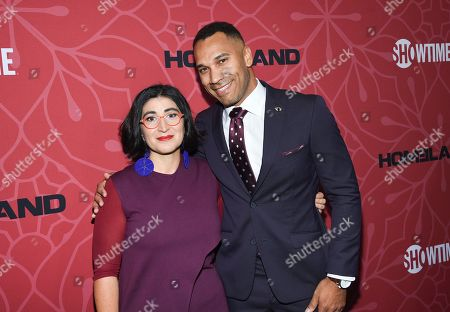 """Jason Tottenham, right, and guest attend Showtime's """"Homeland"""" eighth and final season premiere at the Museum of Modern Art, in New York"""
