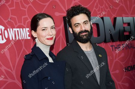 """Rebecca Hall, Morgan Spector. Actors Rebecca Hall, left, and Morgan Spector attend Showtime's """"Homeland"""" eighth and final season premiere at the Museum of Modern Art, in New York"""