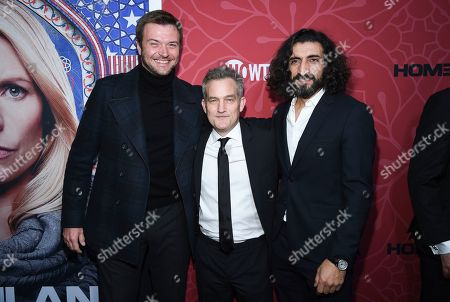 """Stock Image of Costa Ronin, Maury Sterling, Numan Acar. Actors Costa Ronin, left, Maury Sterling and Numan Acar attend Showtime's """"Homeland"""" eighth and final season premiere at the Museum of Modern Art, in New York"""