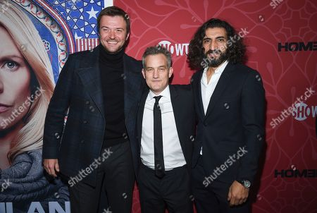 """Costa Ronin, Maury Sterling, Numan Acar. Actors Costa Ronin, left, Maury Sterling and Numan Acar attend Showtime's """"Homeland"""" eighth and final season premiere at the Museum of Modern Art, in New York"""