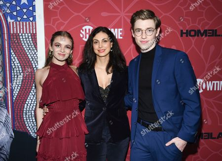 """Stock Picture of Morgan Saylor, Morena Baccarin, Jackson Pace. Actors Morgan Saylor, left, Morena Baccarin and Jackson Pace attend Showtime's """"Homeland"""" eighth and final season premiere at the Museum of Modern Art, in New York"""