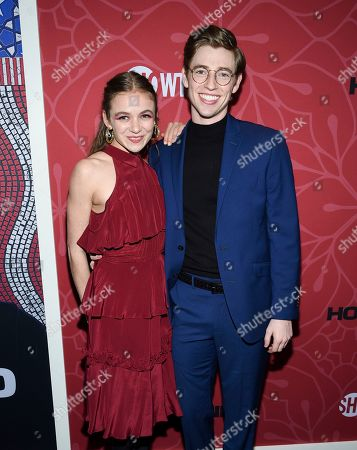 """Morgan Saylor, Jackson Pace. Actors Morgan Saylor, left, and Jackson Pace attend Showtime's """"Homeland"""" eighth and final season premiere at the Museum of Modern Art, in New York"""
