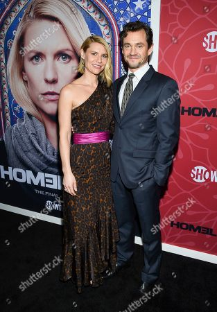 """Claire Danes, Hugh Dancy. Actors Claire Danes, left, and Hugh Dancy attend Showtime's """"Homeland"""" eighth and final season premiere at the Museum of Modern Art, in New York"""