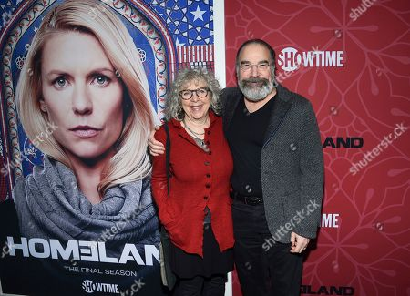 """Stock Picture of Kathryn Grody, Mandy Patinkin. Actor Mandy Patinkin, right, and wife Kathryn Grody attend Showtime's """"Homeland"""" eighth and final season premiere at the Museum of Modern Art, in New York"""