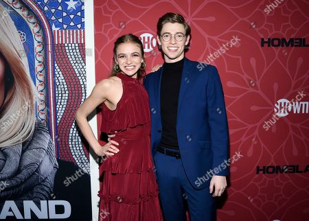 """Stock Image of Morgan Saylor, Jackson Pace. Actors Morgan Saylor, left, and Jackson Pace attend Showtime's """"Homeland"""" eighth and final season premiere at the Museum of Modern Art, in New York"""
