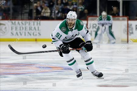 Dallas Stars' Tyler Seguin (91) during the third period of an NHL hockey game against the New York Islanders, in New York. The Islanders won 4-3