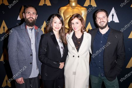 (L-R) US producer Shane Boris, British director and producer Joanna Natasegara, Brazilian actress-filmmaker Petra Costa and Producer Tiago Pavan, 2020 Academy Awards Documentary (Feature) nominees for The Edge of Democracy, pose during the Oscar Week: Documentary event at the Academy of Motion Picture Arts and Sciences in Beverly Hills, California, USA, 04 February 2020.