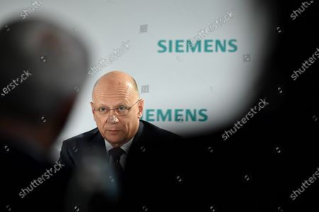 Stock Photo of Siemens Chief Financial Officer (CFO) Ralf Peter Thomas speaks during the Siemens AG Annual Shareholders' Meeting in Munich, Germany, 05 February 2020.