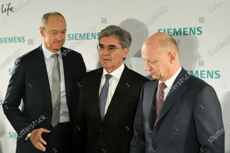 Stock Picture of (L-R) Siemens COO Roland Busch, Siemens CEO Joe Kaeser and Siemens CFO Ralf Peter Thomas arrive for the Siemens AG Annual Shareholders' Meeting in Munich, Germany, 05 February 2020.