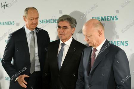 (L-R) Siemens COO Roland Busch, Siemens CEO Joe Kaeser and Siemens CFO Ralf Peter Thomas arrive for the Siemens AG Annual Shareholders' Meeting in Munich, Germany, 05 February 2020.