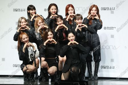 South Korean girl group Loona poses for a photo during a showcase for their new mini album 'Hash (#)' at an arts hall in Seoul, South Korea, 05 February 2020.