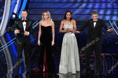 Tv presenter Amadeus, Diletta Leotta, Rula Jebreal, Fiorello