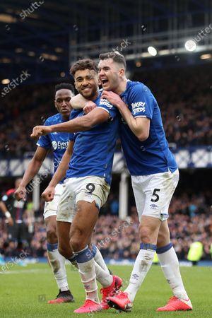 Dominic Calvert-Lewin of Everton celebrates scoring his sides third goal with Yerry Mina and Michael Keane to make the score 3-1
