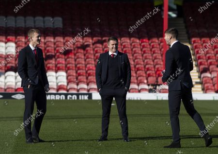 Robbie Keane assistant manager of Middlesbrough inspects the pitch before kick off