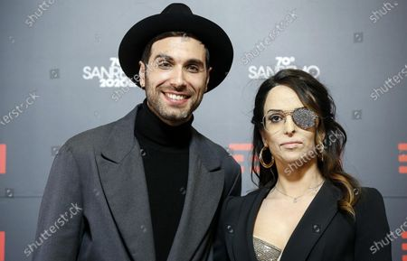 Italian model Gessica Notaro (R) and Italian singer Antonio Maggio (L) pose during a photocall at the 70th Sanremo Italian Song Festival, Sanremo, Italy, 05 February 2020. The festival runs from 04 to 08 February.