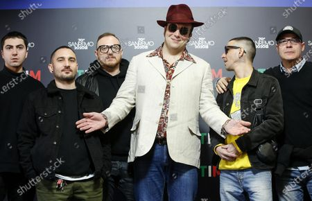 Raphael Gualazzi (C) poses with his band during a photocall at the 70th Sanremo Italian Song Festival, Sanremo, Italy, 05 February 2020. The festival runs from 04 to 08 February.