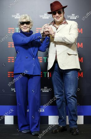 Raphael Gualazzi (R) and Italian record producer Caterina Caselli (L) pose during a photocall at the 70th Sanremo Italian Song Festival, Sanremo, Italy, 05 February 2020. The festival runs from 04 to 08 February.