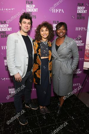"""Jeremy Teicher, Alexi Pappas, Jacqueline Lyanga. Director/writer Jeremy Teicher, Alexi Pappas and Jacqueline Lyanga, Film Independent's Artistic Director, seen at the special screening of """"Olympic Dreams"""" at the ArcLight Hollywood, in Los Angeles"""