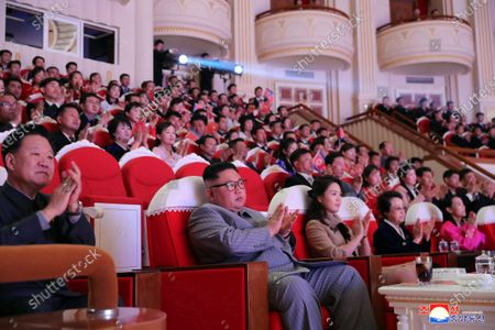 A photo released by the official North Korean Central News Agency (KCNA) on 27 January 2020 shows North Korea's leader Kim Jong-un (C), his wife Ri Sol Ju (C-R), and his aunt Kim Kyong-hui (2-R) attending a performance for celebrating the Lunar New Year's Day at the Samjiyon Theater in Pyongyang, North Korea, 25 January 2020 (issued 27 January 2020). At the event, former leader Kim Jong-il's only sister Kim Kyong-hui has reappeared in public for the first time since 2013 when her husband Chang Song-thaek was executed.