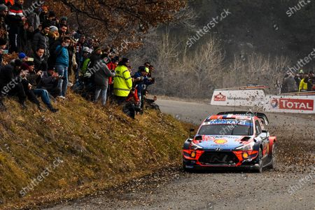 Sebastien Loeb of France drives his Hyundai i20 Coupe WRC during the Rally Monte Carlo 2020 as part of the World Rally Championship (WRC) near Gap, France, 25 January 2020.