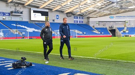 Brighton head coach Graham Potter (right) and assistant head coach Billy Reid before the Premier League match between Brighton and Hove Albion and Watford at The Amex Stadium Brighton, UK - 8th February 2020
