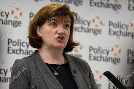 Secretary of State for Digital, Culture, Media and Sport, Nicky Morgan speaks at a Policy Exchange event in Westminster on the 'The Future of Media and Broadcasting'.