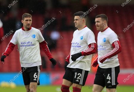 9th February 2020, Bramall Lane, Sheffield, England; Premier League, Sheffield United v Bournemouth : John Egan (12) of Sheffield United and Chris Basham (6) warm up for the game