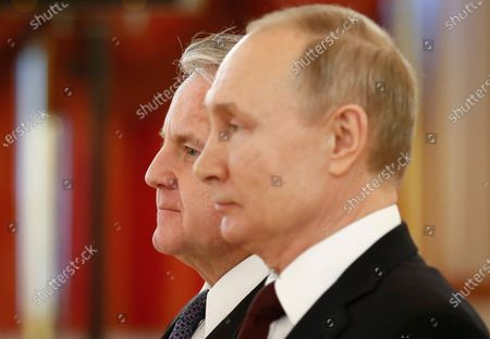 Russian President Vladimir Putin (R) and the new U.S. Ambassador to Russia John Sullivan (L) attend a ceremony to receive credentials from newly appointed foreign ambassadors to Russia in the Kremlin in Moscow, Russia, 05 February 2020.