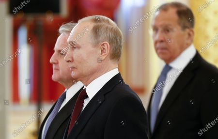 Russian President Vladimir Putin (C), the new U.S. Ambassador to Russia John Sullivan (L) and Russian Foreign Minister Sergei Lavrov (R) attend a ceremony to receive credentials from newly appointed foreign ambassadors to Russia in the Kremlin in Moscow, Russia, 05 February 2020.