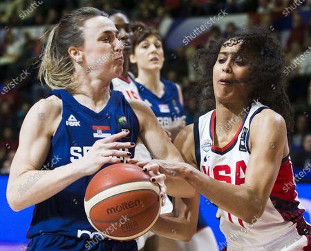 Nevena Jovanovic of Serbia competes against Skylar Diggins of USA