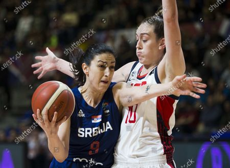 Jelena Brooks of Serbia competes against Breanna Stewart of USA