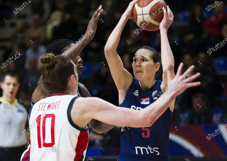 Sonja Vasic of Serbia competes against Breanna Stewart of USA