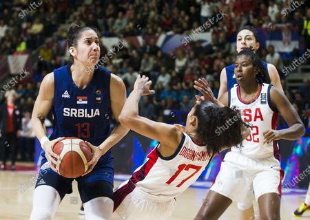 Nikolina Milic of Serbia competes against Skylar Diggins of USA