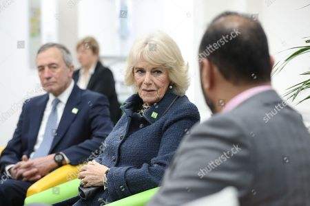 Camilla Duchess of Cornwall alongside chair of trustees John Bartlett (left) and chief executive Javed Khan during a visit to Barnardo's Child and Sexual Abuse and Exploitation Services