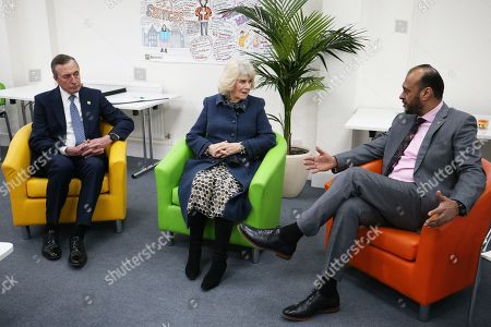 Stock Picture of Camilla Duchess of Cornwall alongside chair of trustees John Bartlett (left) and chief executive Javed Khan during a visit to Barnardo's Child and Sexual Abuse and Exploitation Services
