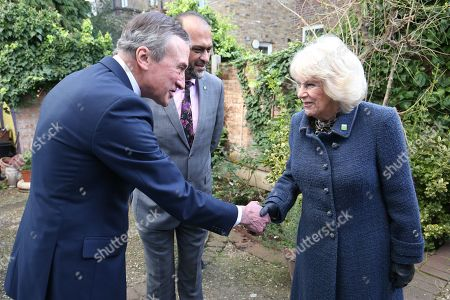 Camilla Duchess of Cornwall meets chair of trustees John Bartlett (left) and chief executive Javed Khan during a visit to Barnardo's Child and Sexual Abuse and Exploitation Services