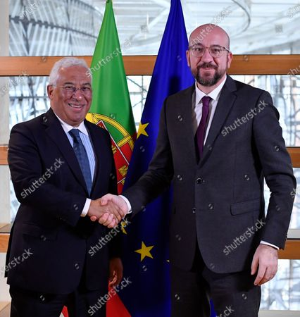 European Council President Charles Michel (R) welcomes Prime Minister of Portugal Antonio Costa before their bilateral meeting at the European Council headquarters in Brussels, Belgium, 05 February 2020.