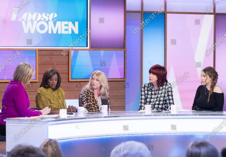 Stock Image of Ruth Langsford, Kelle Bryan, Denise Fergus, Janet Street-Porter and Stacey Solomon