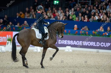 AMSTERDAM, NETHERLANDS - : Charlotte Dujardin of Great Britan riding Mount St John Freestyle at Grand Prix Freestyle presented by VriendenLoerij - Jumping Amsterdam on in Amsterdam. (Photo by Thomas Reiner/ESPA-Images)