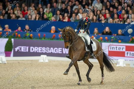 Stock Photo of Charlotte Dujardin of Great Britan riding Mount St John Freestyle at Grand Prix Freestyle presented by VriendenLoerij - Jumping Amsterdam on in Amsterdam. (Photo by Thomas Reiner/ESPA-Images)