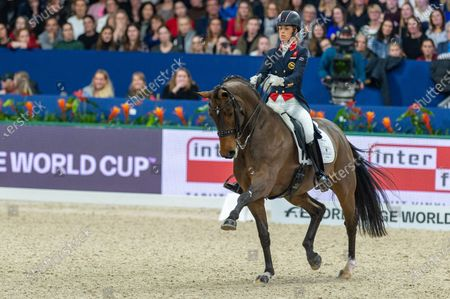 Stock Picture of Charlotte Dujardin of Great Britan riding Mount St John Freestyle at Grand Prix Freestyle presented by VriendenLoerij - Jumping Amsterdam on in Amsterdam. (Photo by Thomas Reiner/ESPA-Images)