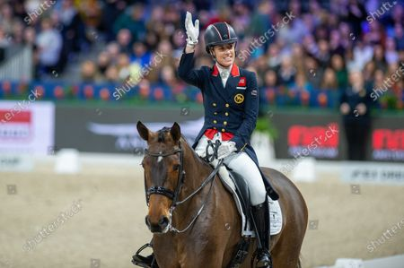 Charlotte Dujardin of Great Britan riding Mount St John Freestyle at Grand Prix Freestyle presented by VriendenLoerij - Jumping Amsterdam on in Amsterdam. (Photo by Thomas Reiner/ESPA-Images)