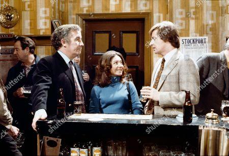Alan Browning (as Alan Howard), Jennifer Moss (as Lucille Hewitt) and William Roache (as Ken Barlow)