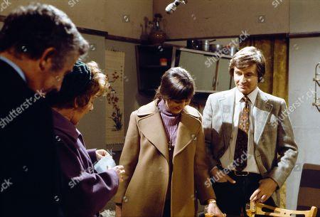 Stock Image of Alan Browning (as Alan Howard), Jean Alexander (as Hilda Ogden), Judith Barker (as Janet Barlow) and William Roache (as Ken Barlow)