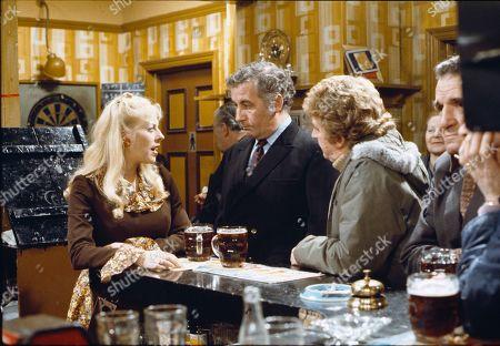 Julie Goodyear (as Bet Lynch), Alan Browning (as Alan Howard) and Peter Adamson (as Len Fairclough)