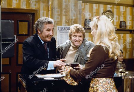 Stock Picture of Alan Browning (as Alan Howard), Peter Adamson (as Len Fairclough) and Julie Goodyear (as Bet Lynch)