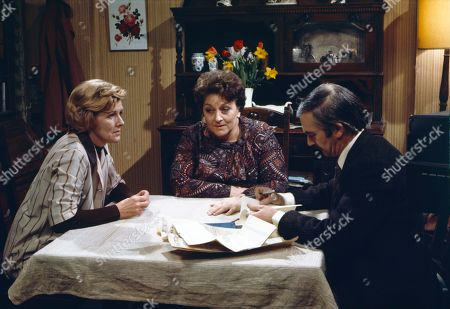 Irene Sutcliffe (as Maggie Clegg), Betty Driver (as Betty Turpin) and Bernard Gallagher (as Sergeant Daniels)