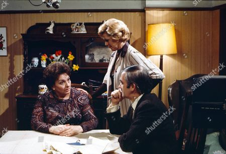 Betty Driver (as Betty Turpin), Irene Sutcliffe (as Maggie Clegg) and Bernard Gallagher (as Sergeant Daniels)
