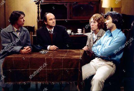 Jessie Evans (as Granny Hopkins), Richard Davies (as Idris Hopkins), Kathy Staff (as Vera Hopkins) and Bill Kenwright (as Gordon Clegg)